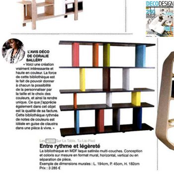 Etagère graphique Tu-Lis-Pied dans le magazine Deco Design set-octobre 2012, mobilier design modulable sur mesure et coloré Les Pieds Sur La Table, article presse