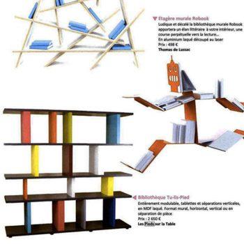 Etagère modulable Tu-Lis-Pied dans Esprit Maison-octobre 2012, mobilier design modulable sur mesure et coloré Les Pieds Sur La Table, article presse