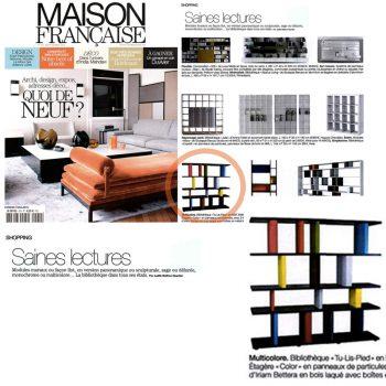 Bibliothèque graphique Tu-Lis-Pied dans le magazine Maison Française septembre 2012, mobilier design modulable sur mesure et coloré Les Pieds Sur La Table