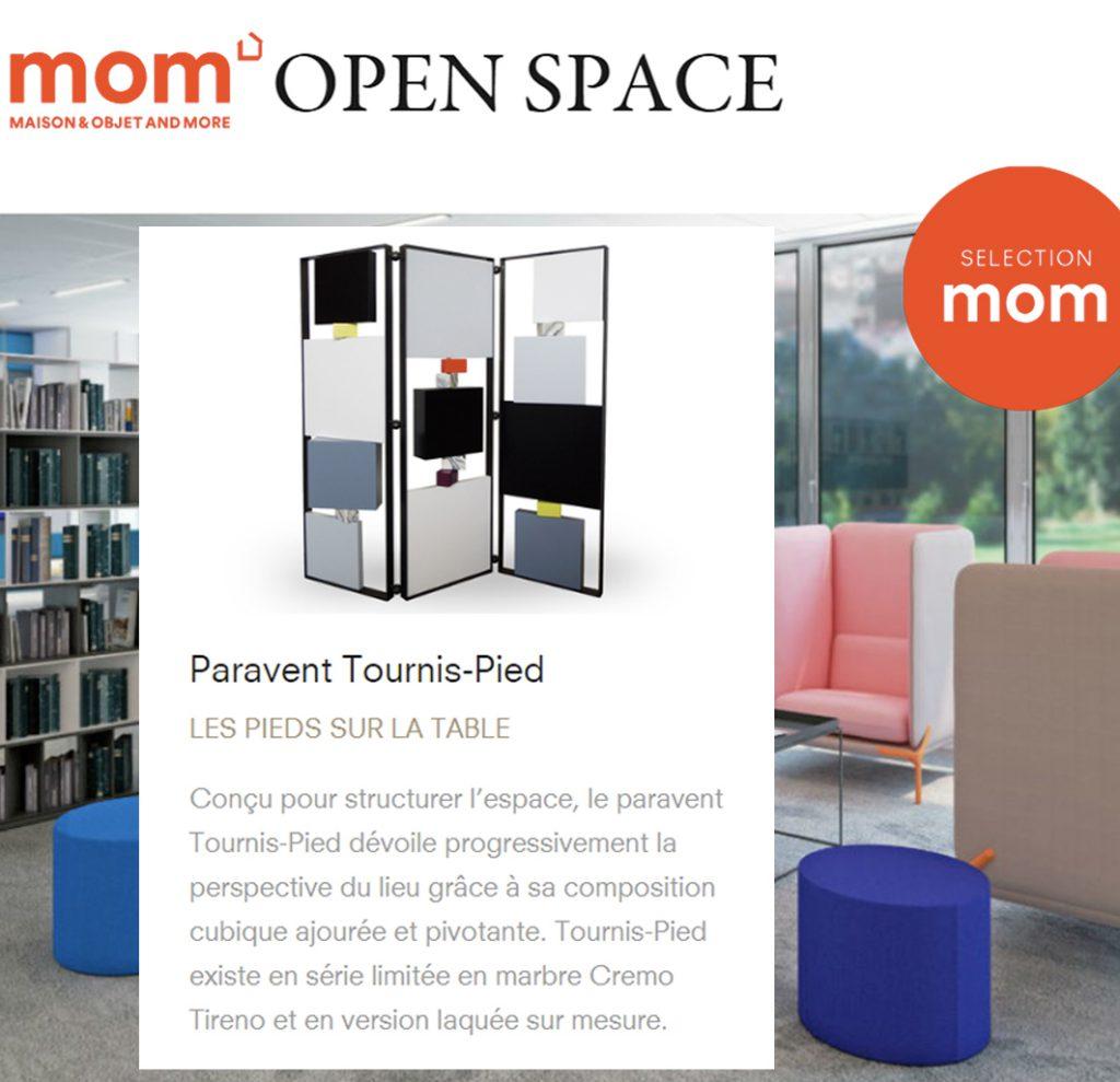 paravent design pour open space, article dans MOM webzine. Modèle Tournis-Pied acier, laque. Création et fabrication meubles design Les Pieds Sur La Table