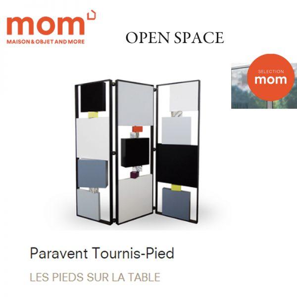 paravent design pour open space dans MOM. Modèle Tournis-Pied paravent sur mesure acier, laque. Création et fabrication mobilier design Les Pieds Sur La Table