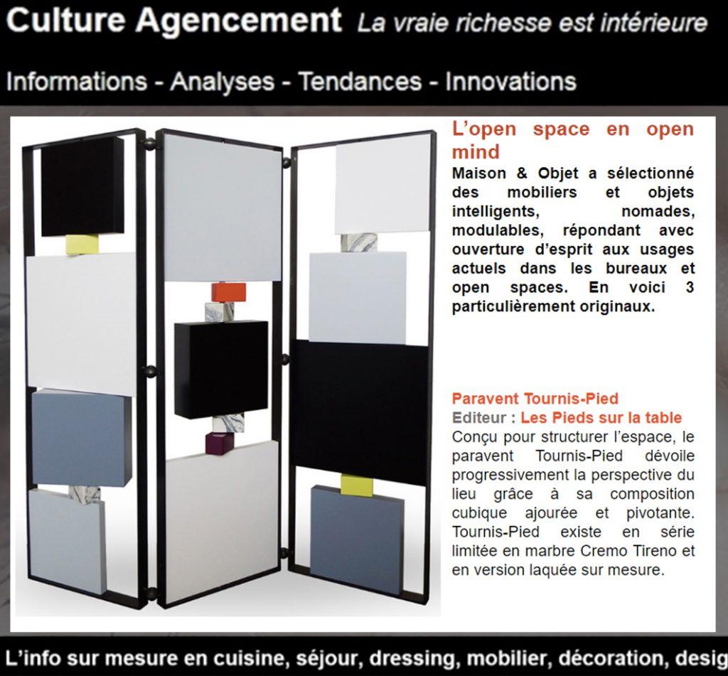 paravent design pour open space dans Culture agencement. Modèle Tournis-Pied paravent sur mesure acier, laque. Création et fabrication meubles design Les Pieds Sur La Table