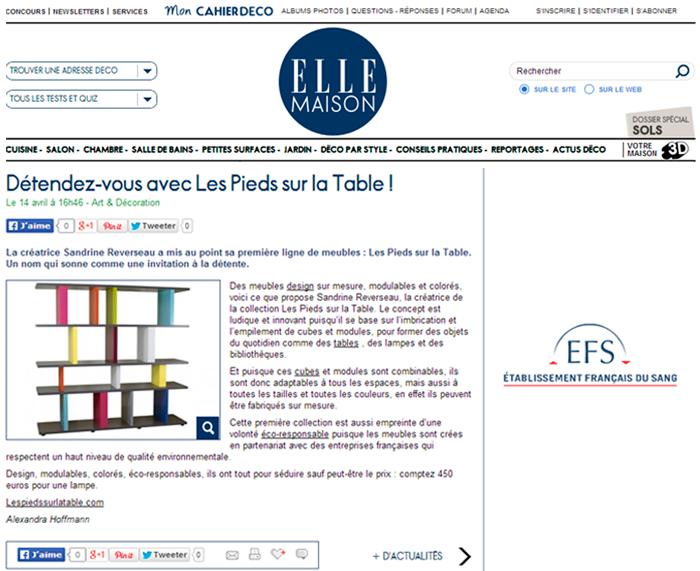 bibliothèque modulable multicolore Tu-Lis-Pied Mobilier Les Pieds Sur La Table dans le blog ELLE Maison