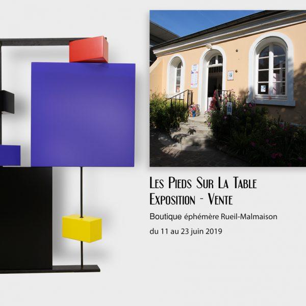 Boutique éphémère Rueil-Malmaison : Exposition vente Mobilier contemporain design Les PIeds Sur La Table créateur et fabricant