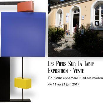 Boutique éphémère Rueil-Malmaison : Exposition vente du Mobilier contemporain design Les PIeds Sur La Table créateur et fabricant
