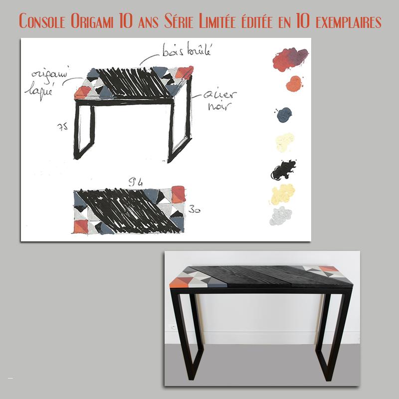 Console Origami 10 ans Série Limitée éditée en 10 exemplaires numérotés Design mobilier contemporain Les Pieds Sur la Table croquis