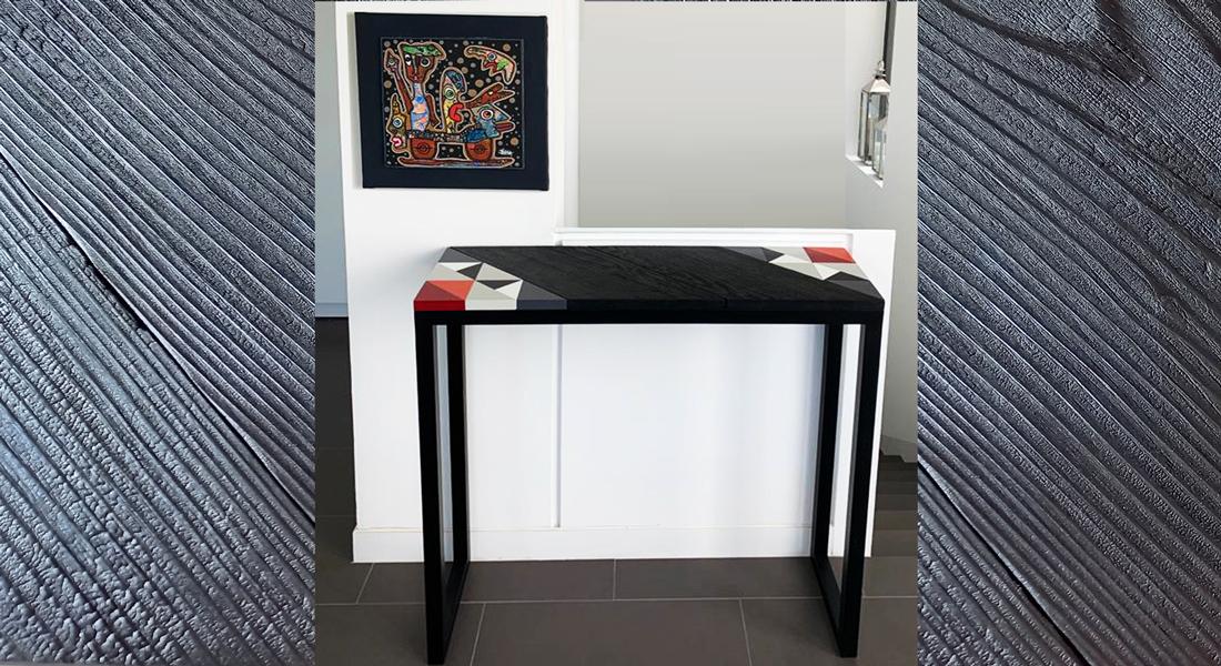 Console en bois motif Origami. Création et fabrication mobilier design Les Pieds Sur La Table Paris