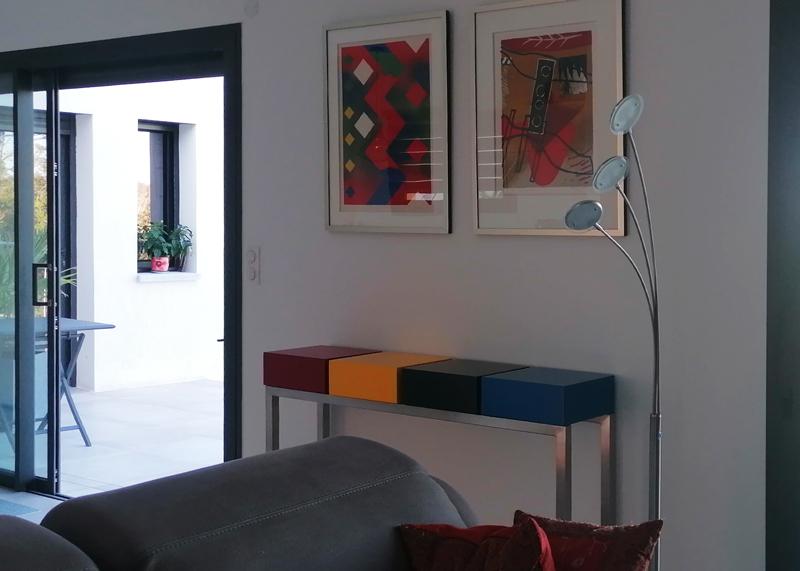 Console en bois laqué avec 4 tiroirs, design et fabrication française par Les Pieds Sur La Table Parise