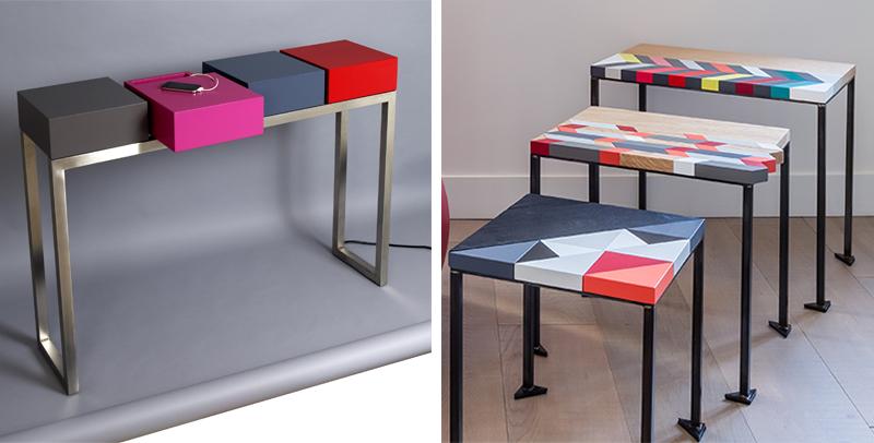 Console design acier inox et bois laqué couleurs. Tables basses origami Les Pieds Sur La Table