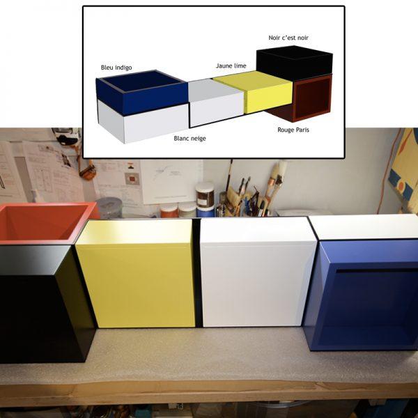 Console murale design sur-mesure laquee couleurs dans l'atelier. Mobilier Les Pieds Sur La Table créateur et fabricant de meubles contemporains design sur mesure