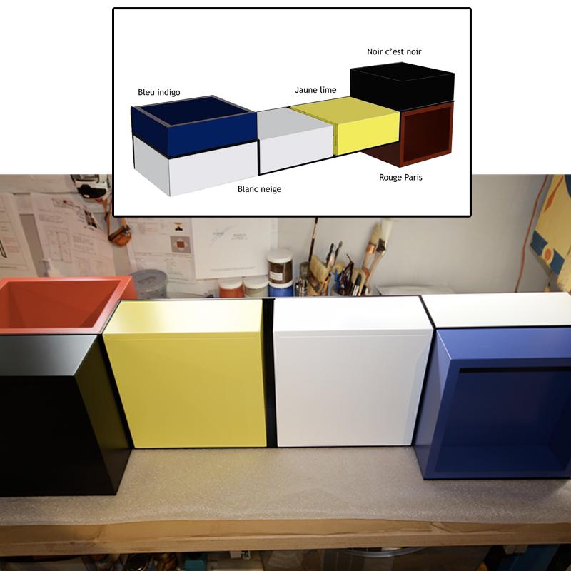 Console murale style Mondrian, console design Pas-Pied sur-mesure laquee couleurs dans l'atelier. Mobilier Les Pieds Sur La Table créateur et fabricant de meubles contemporains design sur mesure