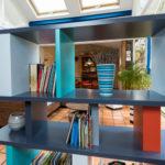 bibliothèque étagère modulable sur mesure couleurs gris bleu Tu Lis Pied mobilier Les Pieds Sur La Table réalisation maison