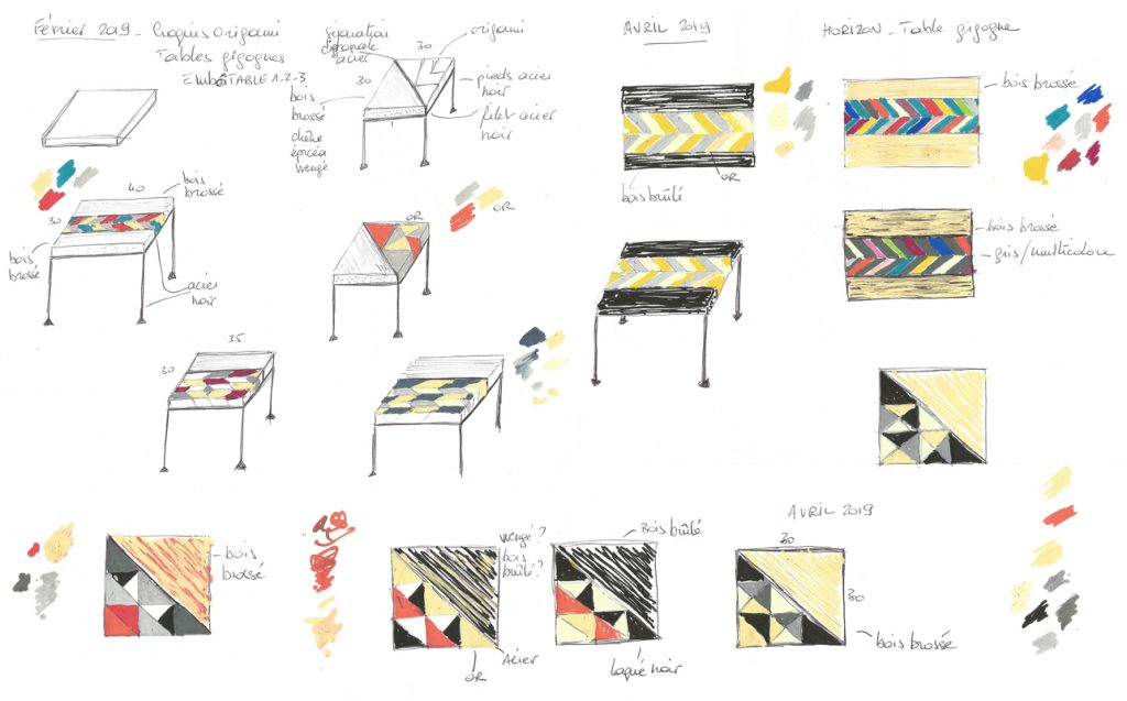 Croquis originaux des motifs origami créés par Sandrine Reverseau pour sa collection de meubles Origamis. Des motifs à la façon de marqueteries contemporaines