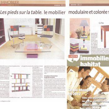 Mobilier modulaire design et coloré dans La Dépêche du Midi Toulouse mars 2012. Meubles design sur mesure et en couleurs Les Pieds Sur La Table