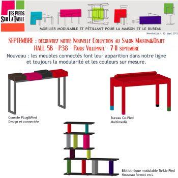 Première console connectée Plug&Pied présentée au salon Maison&Objet septembre 2012, Design mobilier Les Pieds Sur La Table