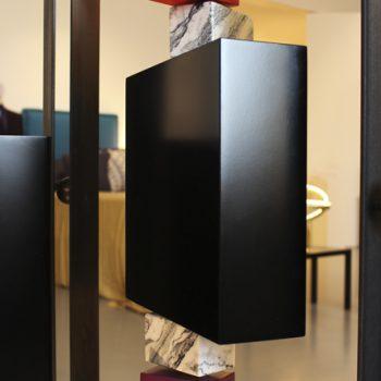 paravent cubique animé 3 panneaux laque et marbre mobilier Les Pieds Sur La Table exposition JEMA détail