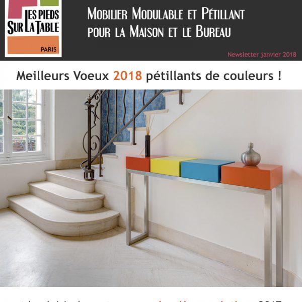 Newsletter janvier 2018 Voeux Mobilier design modulable et coloré Les Pieds Sur La Table