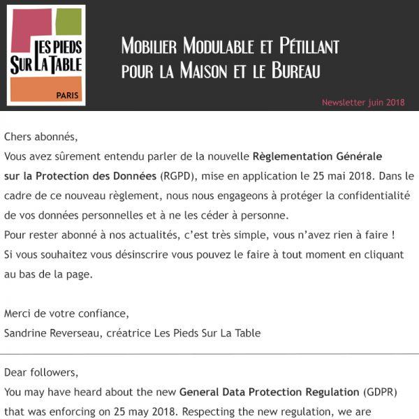 Protection des données personnelles - Règle RGPD- Design et fabrication mobilier design Les Pieds Sur La Table