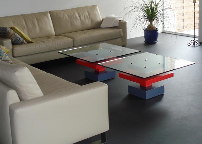 Paire de tables basses carrées finition laque et verre Pied-G Uno Mobilier design modulable Les Pieds Sur La Table