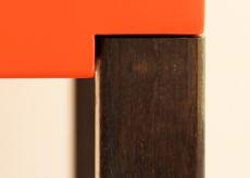 Finition acier patiné noir brun pied de console design Pied-de-Grue. Couleurs rose bonne maman, beige parchemin. Pied acier beige doré. Meubles Les Pieds Sur La Table