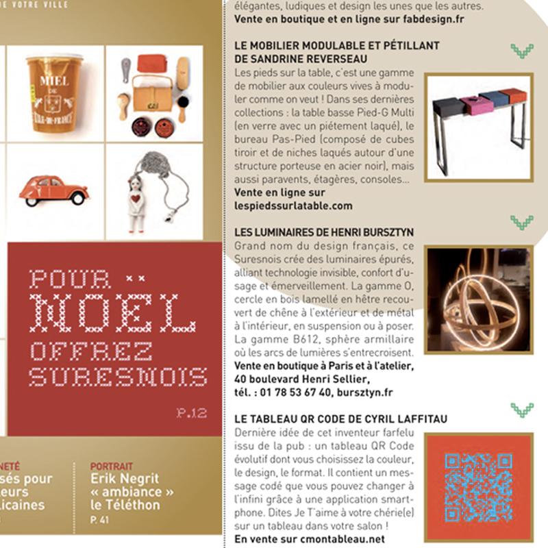 Mobilier design modulable et coloré Les Pieds Sur La Table, presse Suresnes Magazine