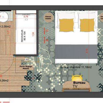 Mobilier sur mesure chambre temoin Hôtel Mercure-mobilier-Les-Pieds-Sur-la-Table-plan agence