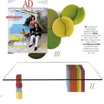 table basse laquée design en couleurs Pied-G Original dans AD Italia en 2012