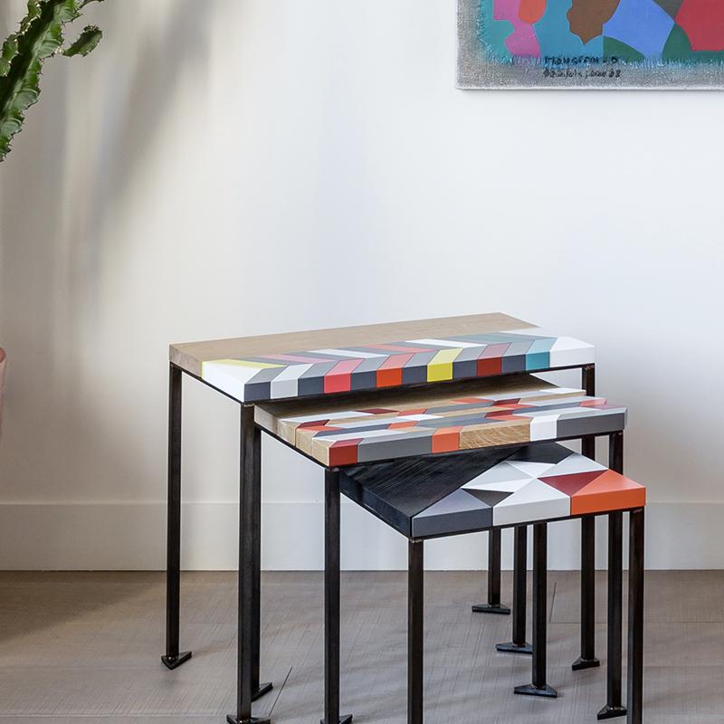 Trois tables origami gigognes Panorama S-M-L-modernes-laque-bois-massif-acier Design-Sandrine-Reverseau.