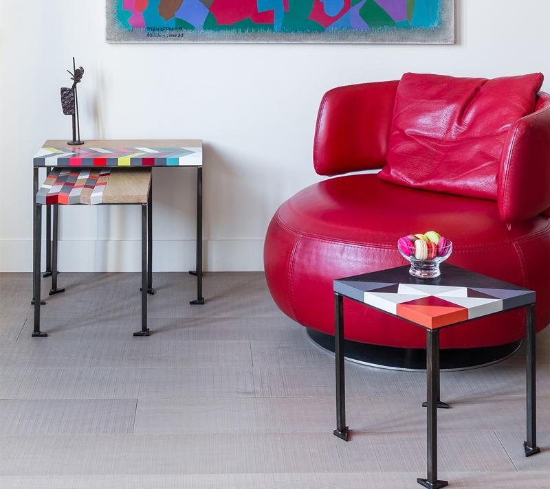 Tables basses origami gigognes Panorama-S-M-L-modernes-laque et bois massif, pieds en acier Design-Sandrine-Reverseau-Collection Origami Mobilier-Les-Pieds-Sur-La-Table