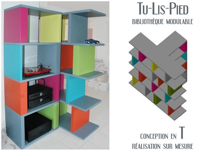 Biblioth que tag re modulable verticale sur mesure mobilier les pieds sur l - Bibliotheque modulable design ...