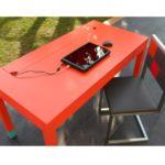 bureau connecté avec prises électriques et ethernet Co-Pied mobilier Les Pieds Sur La Table