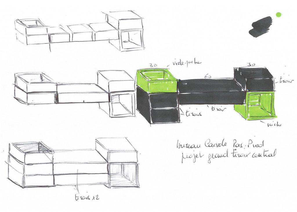 bureau console d'entrée murale sur mesure Pas-Pied, dessins de création, mobilier Les Pieds Sur La Table