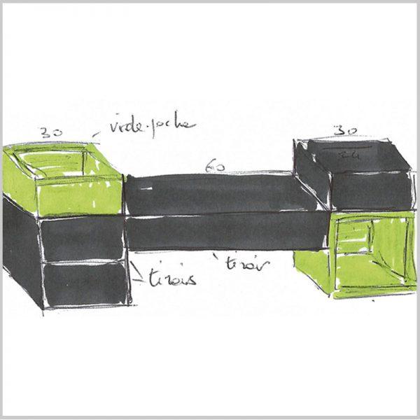 bureau console murale sur mesure Pas-Pied, croquis de création, mobilier Les Pieds Sur La Table
