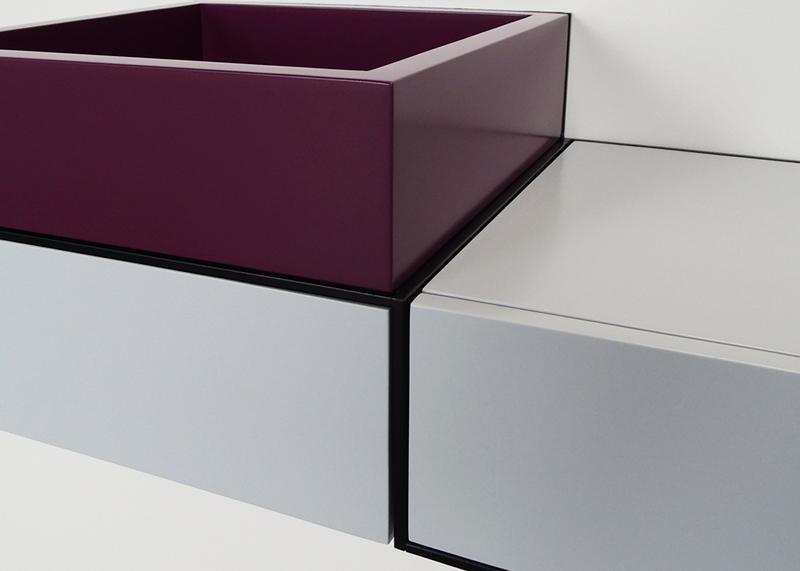 bureau console mural avec rangement Pas-Pied couleur sur mesure mobilier Les Pieds sur la table