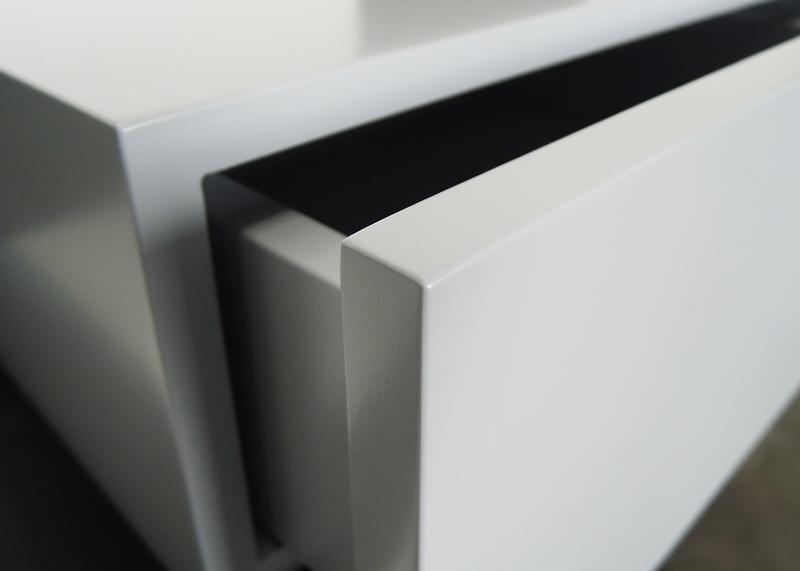 bureau console mural avec tiroir Pas-Pied sur mesure mobilier Les Pieds sur la table