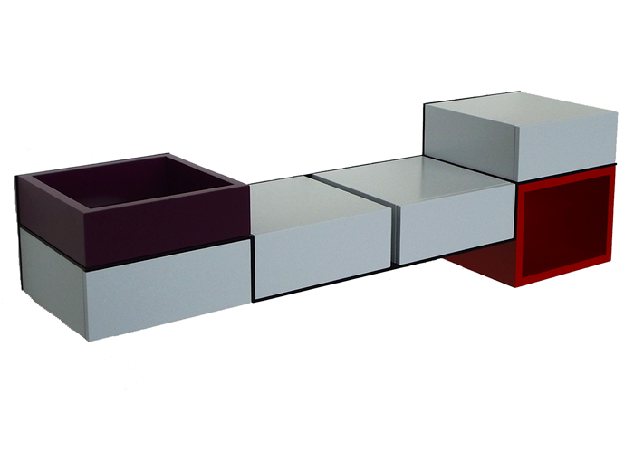 bureau console mural Pas-Pied acier et couleur sur mesure mobilier Les Pieds sur la table