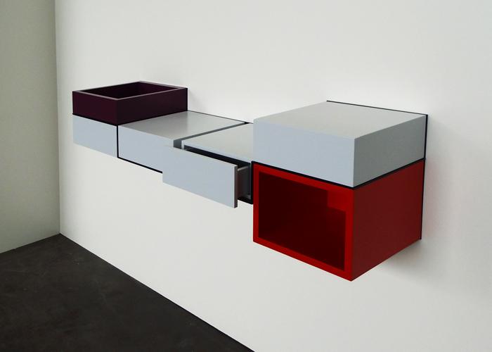bureau console mural Pas-Pied couleur sur mesure mobilier Les Pieds sur la table avec tiroir