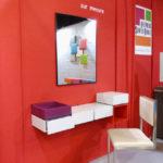 bureau console mural Pas-Pied couleur gris rouge mobilier Les Pieds sur la table