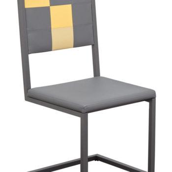 chaise de bureau design moderne à dossier haut Pied-Tine acier gris et simili cuir gris jaune par Les Pieds Sur la Table