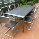 chaise d'extérieur terrasse design caoutchouc recyclé Pied-Tine par Les Pieds Sur la Table
