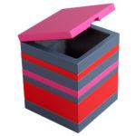 coffre de rangement laqué gris rouge Group Pied mobilier Les Pieds Sur La Table modèle original