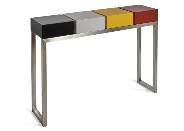 console design Pied-Estal couleurs noir c'est noir, beige parchemin, jaune soleil intense, rouge piment. Pied inox brossé. Meubles Les Pieds Sur La Table