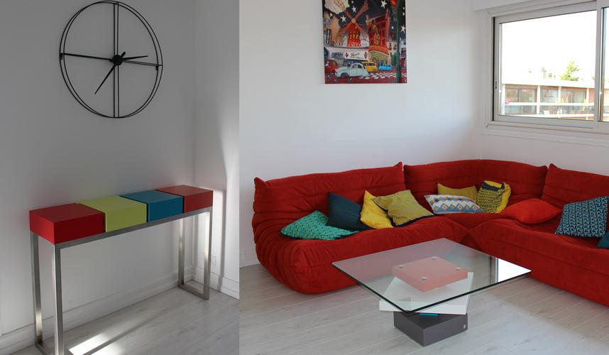 console d'entrée et table basse en verre, les deux meubles réalisés sur mesure pour un appartement privé près de Paris