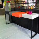 console design contemporaine acier noir cubes orange noir beige L186 Plug and Pied mobilier Les Pieds Sur La Table réalisation maison