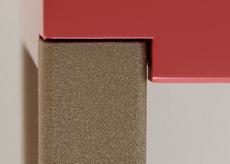Console, finition pied en acier laqué beige doré. Collection de mobilier contemporain Les-Pieds-Sur-la-Table-meubles-design-sur-mesure