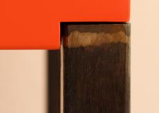 Console design, finition du pied en acier patiné brun-noir ou bronze médaille. Collection de mobilier contemporain Les-Pieds-Sur-la-Table-meubles-design-sur-mesure