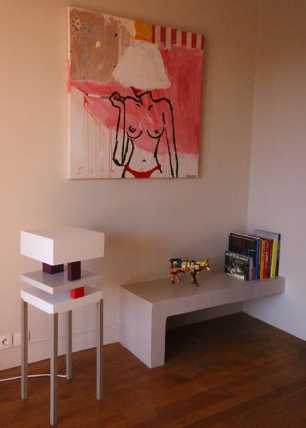 Console design laquée blanche Pied de-Grue mobilier Les Pieds Sur La Table réalisation maison