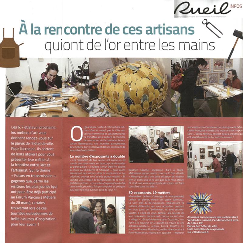 Métiers d'art à Rueil-Malmaison, Exposition mobilier design Les Pieds Sur La Table aux Journées européennes des Métiers d'Art 2018 article dans Rueil infos