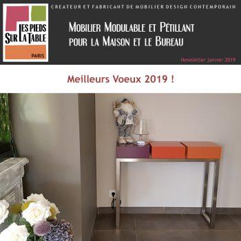 Mobilier design contemporain Les Pieds Sur La Table, créateur et fabricant, Voeux 2019
