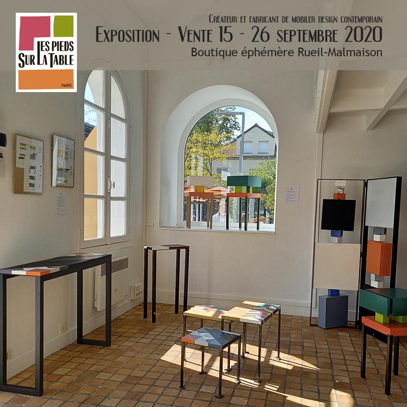 Vente meubles contemporains Les Pieds Sur La Table à la boutique éphémère Rueil-Malmaison septembre 2020